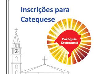 Inscrições abertas : Catequese e Crisma Maiores informações: 51 3366 1487