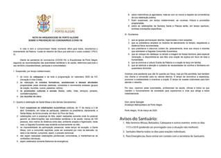 Arquidiocese determina suspensão das missas e catequeses.