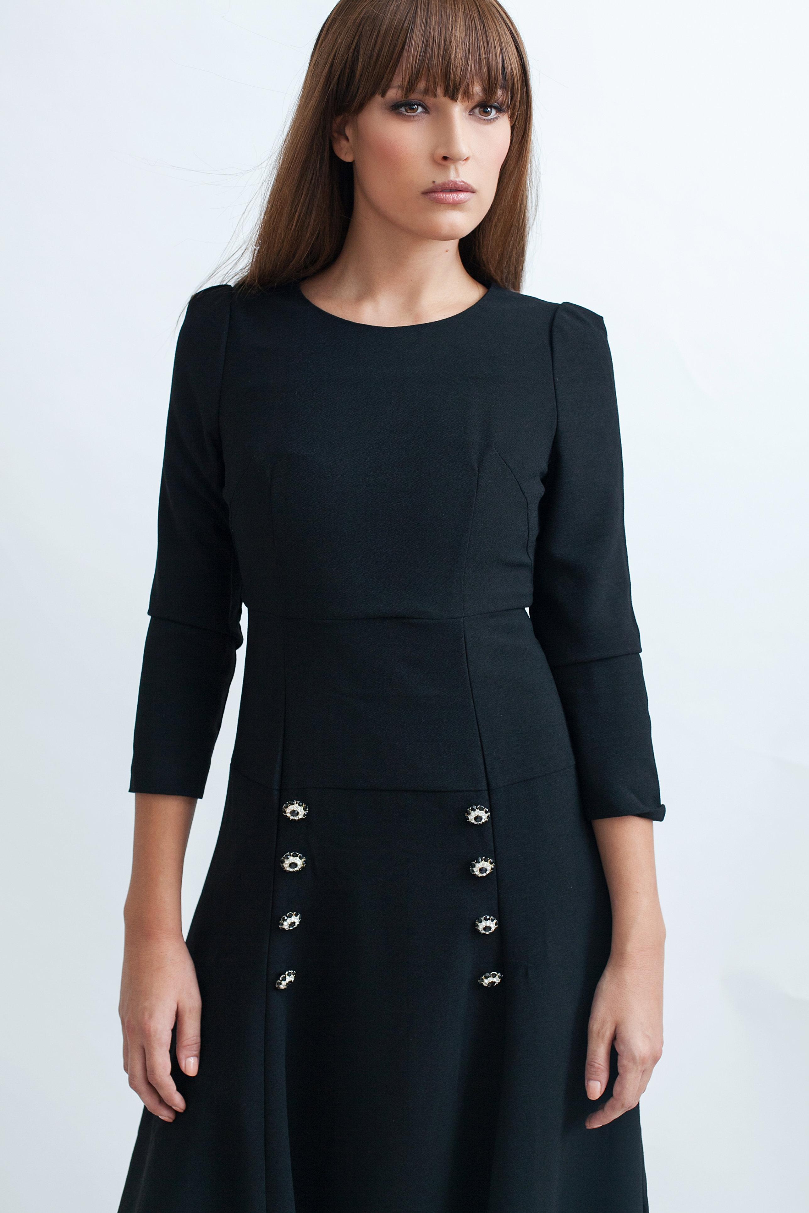 Black dress under knee - Below The Knee Dress With Button Decor