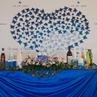 оформление свадьбы в Лобне в синем цвете