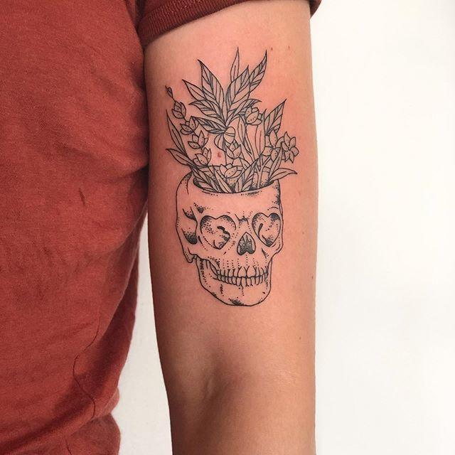 Fine Line  Skull Tattoo Jasmine Gold Coast Tattooist Absolute Tattoo