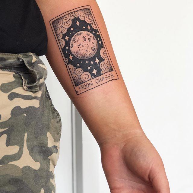 Tarot card black work Fine Line Tattooist Jasmine Gold Coast Tattooist Absolute Tattoo