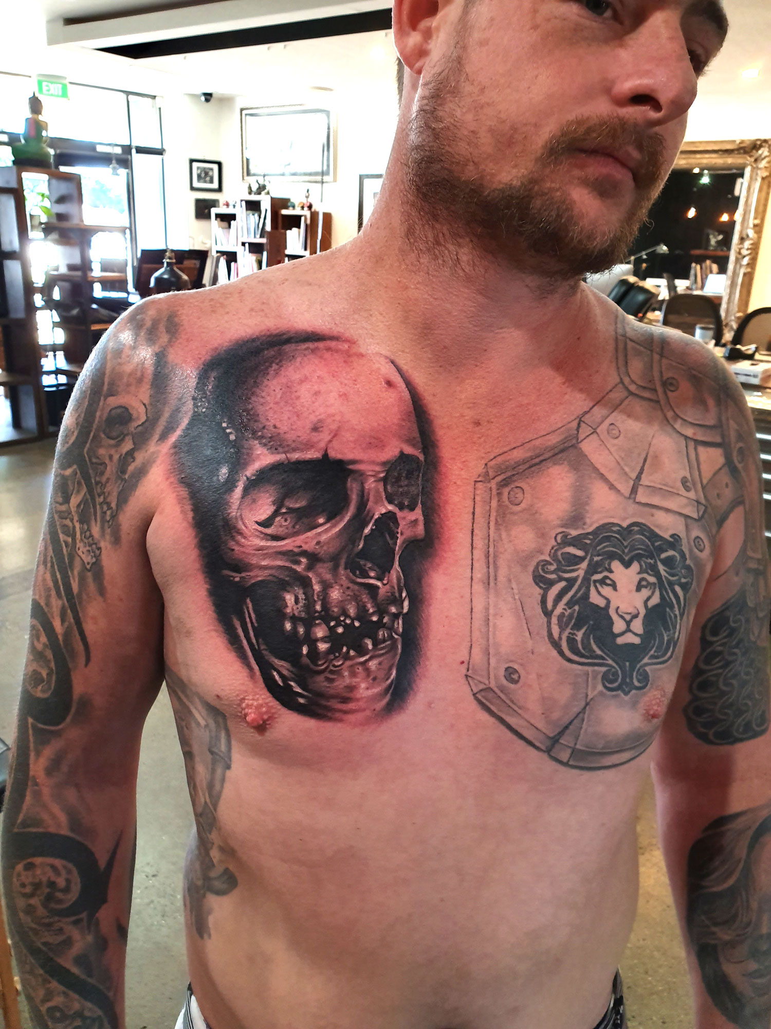 Dane Inkstain Gold Coast skull realism tattoo