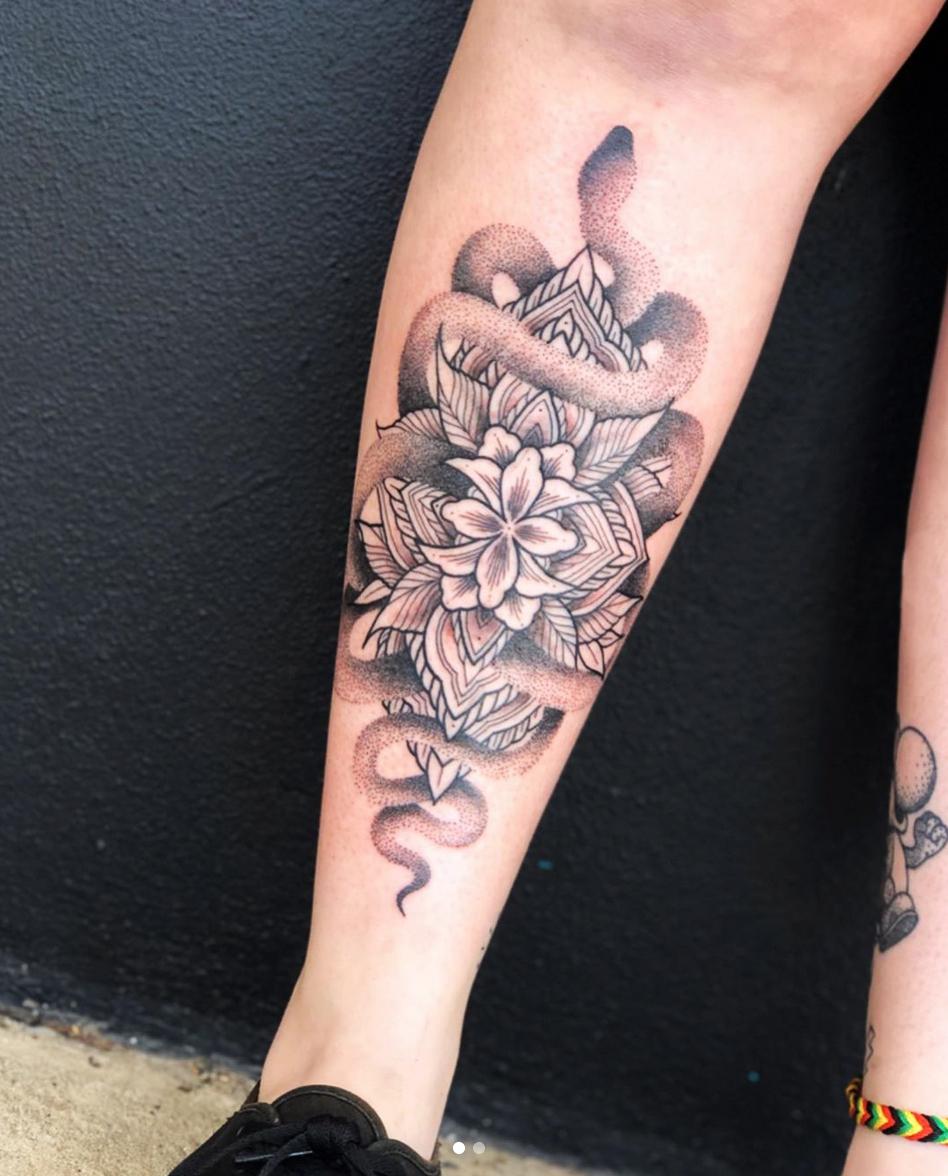black dot work tattoo