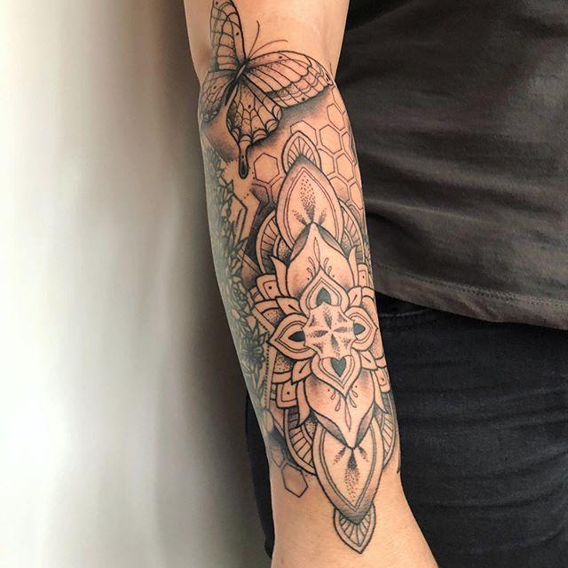 Mandala Pattern Fine line Tattoo Jasmine Gold Coast Tattooist Absolute Tattoo