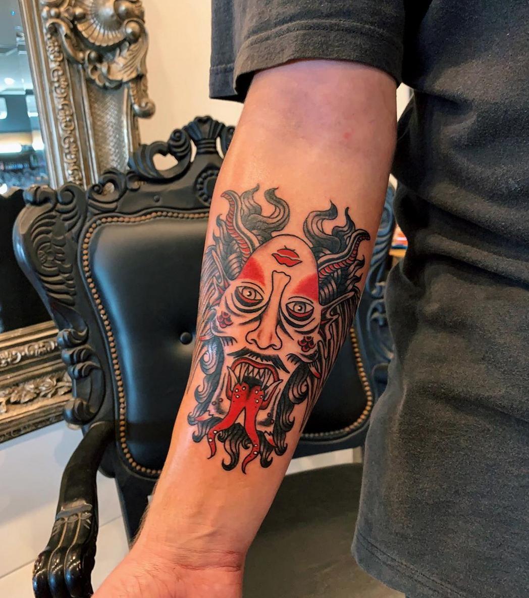 Devil Angel Trad tattoo