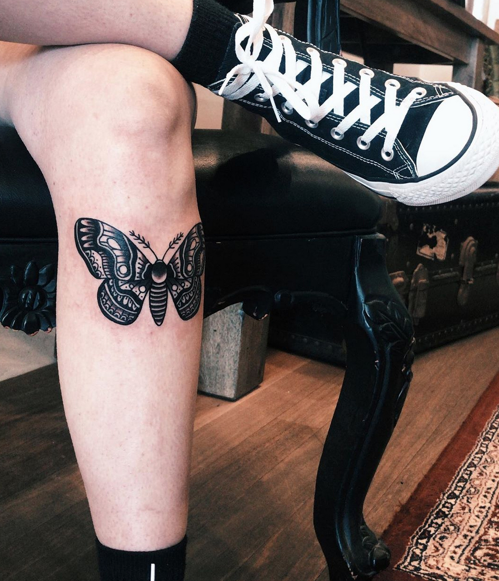 Trad Moth tattoo