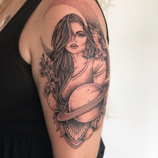 Woman planets Mandala Pattern Fine Line Tattooist Jasmine Gold Coast Tattooist Absolute Tattoo