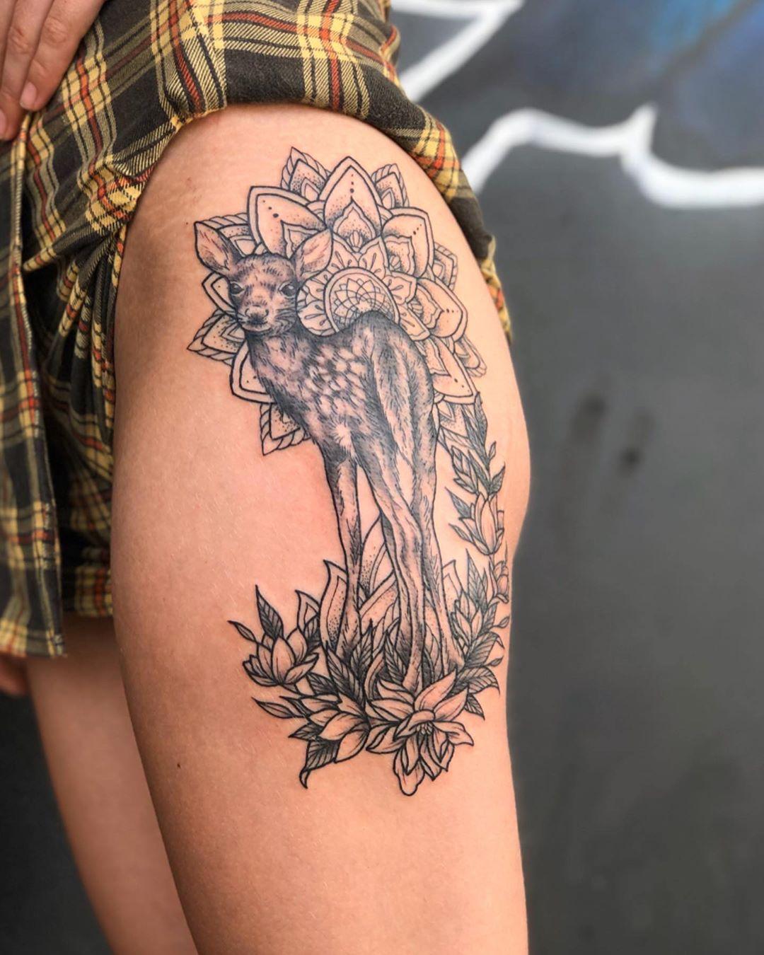 Deer Mandala Pattern Fine Line Tattooist Jasmine Gold Coast Tattooist Absolute Tattoo