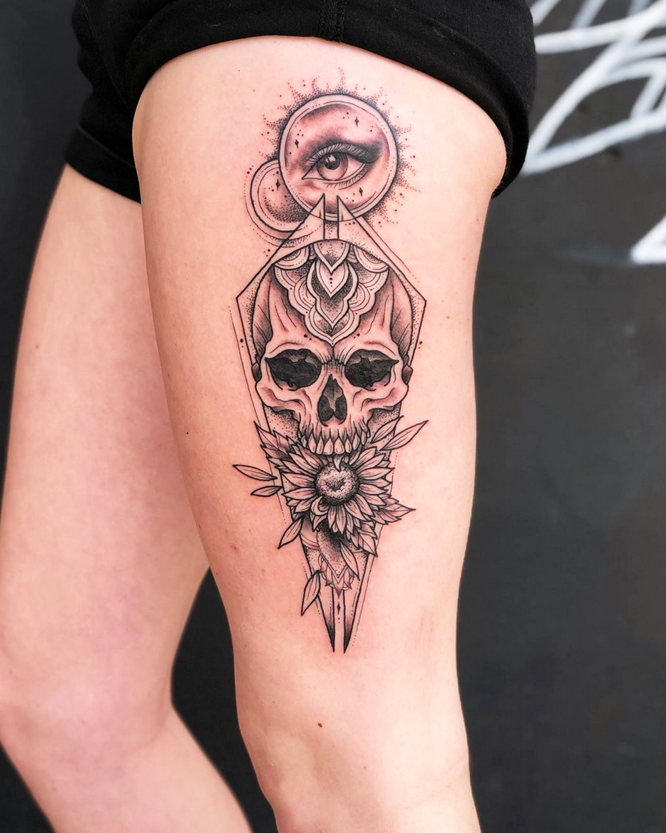 Skull Thigh tattoo