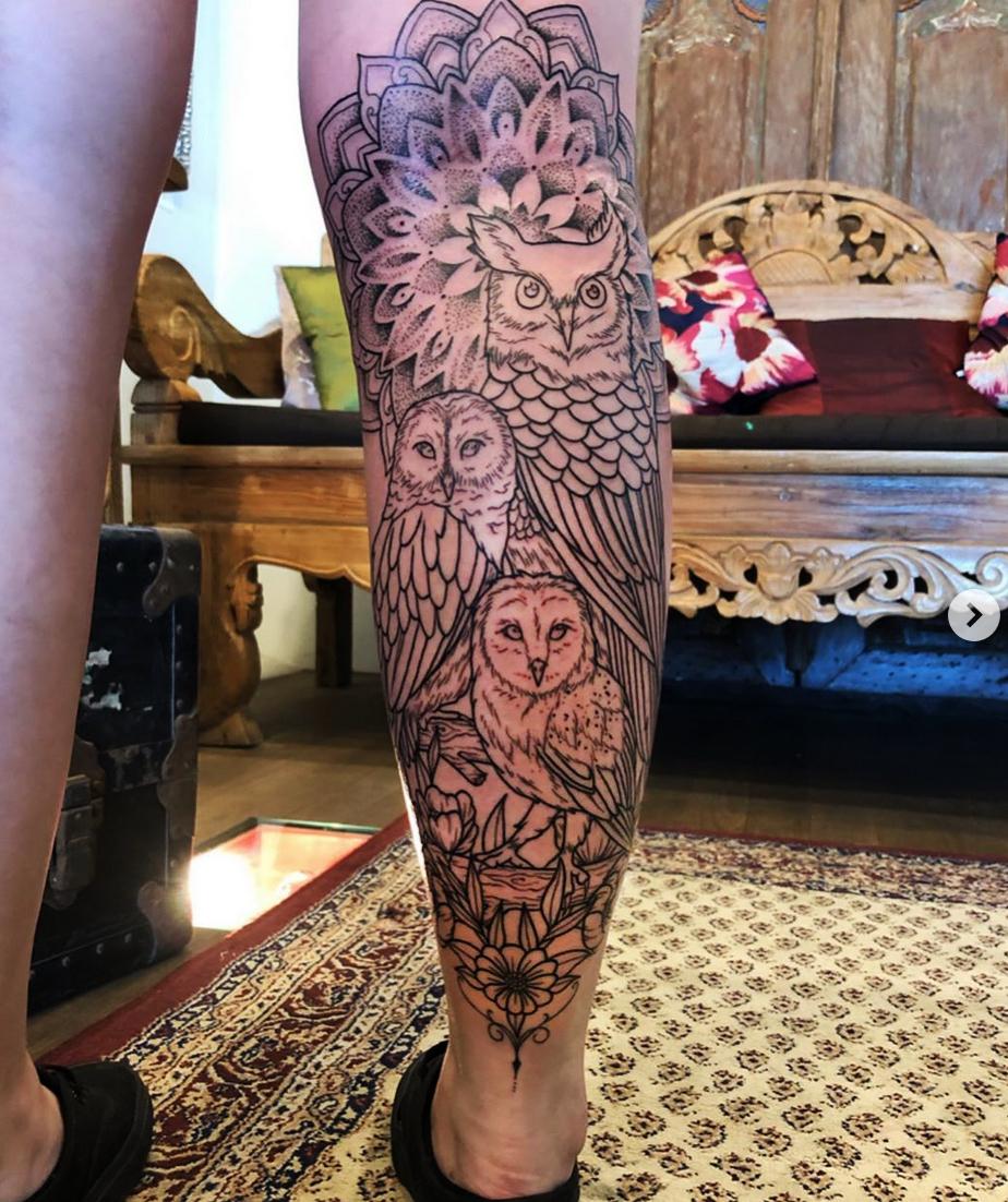 Owls leg tattoo