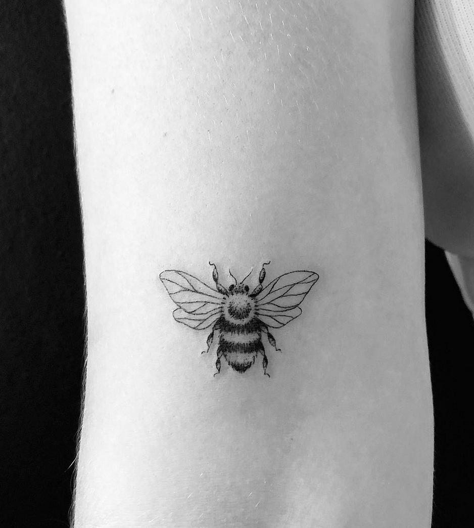 bee fine line tattoo coco loberg