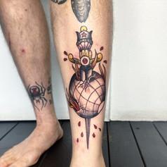 Tom McMahon Tattooist Gold Coast FTW dagger  Tattoo