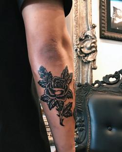 trad black rose tattoo