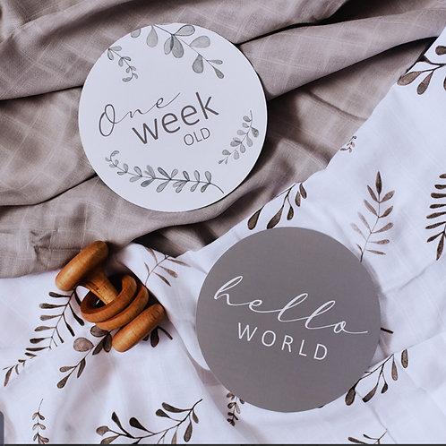 Wild Fern & Grey Reversable Milestone Cards