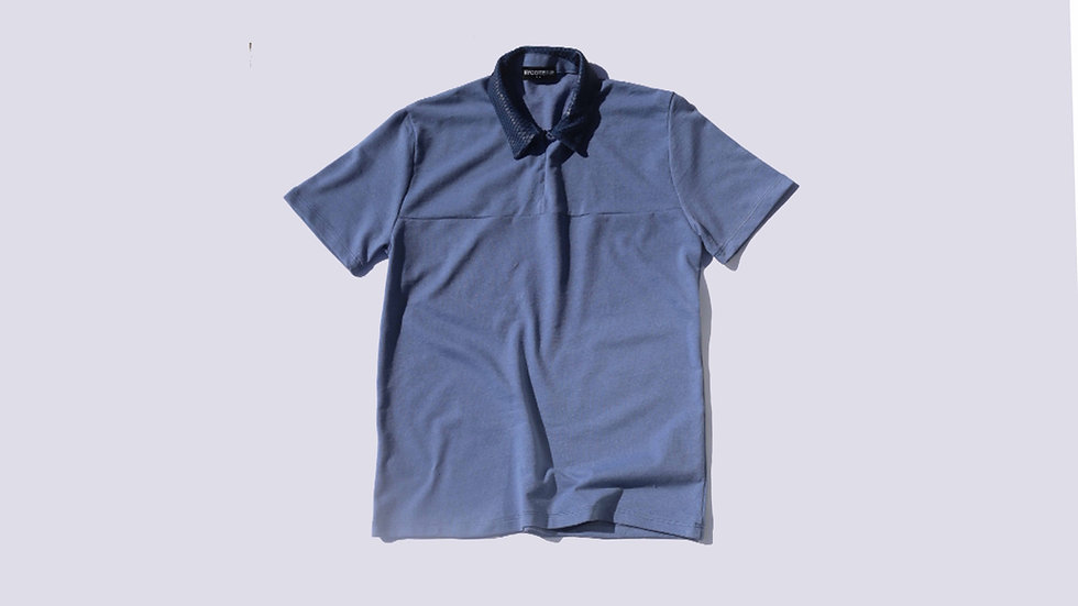 MYCOTERIE - PYTHON COLLAR POLO - SEA BLU
