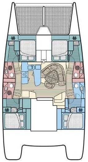 Leopard 47' catamaran layout