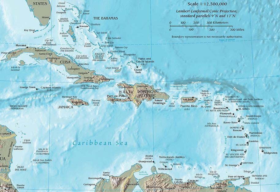 Caribbean Map Catamaran Charter