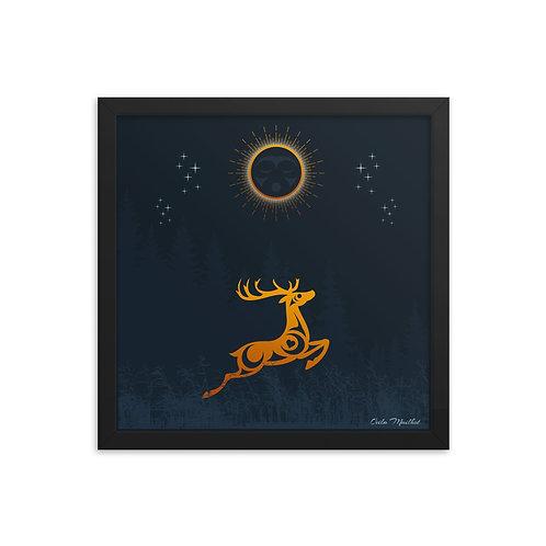 Golden Deer framed print (14x14 in)