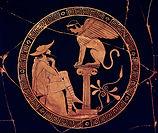 Oedipus-Sphinx-interior-kylix-Attic-Vati