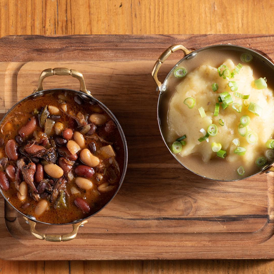 Texas Baked Beans & Mashed Potatoes