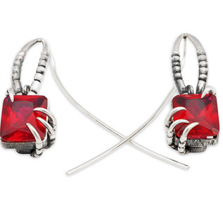 Red stone silver earings