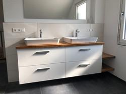Waschtischanlage mit Waschtischplatte und Ablage Eiche Altholz