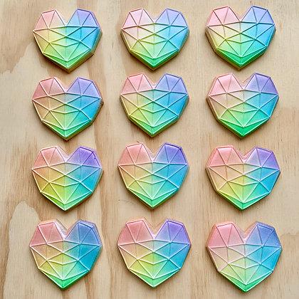 Geometric Rainbow Heart Cookies