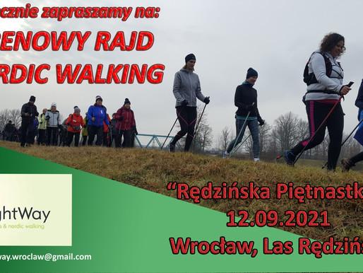 12.09.2021 (niedziela) Terenowy rajd nordic walking Rędzińska Piętnastka (15km)
