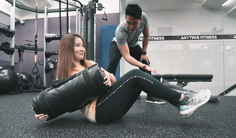 Michy toning up with Personal Trainer Lucas