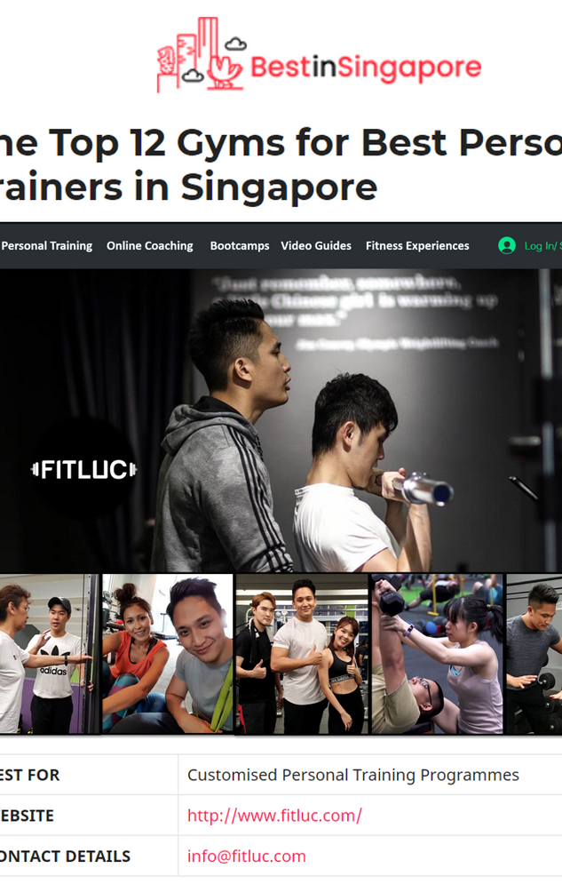 Featured: Top 12 Best PT in Singapore 2020