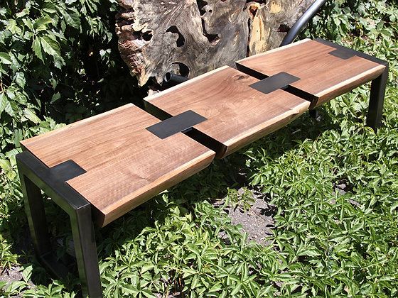 Black Walnut and Blackened Steel Bench