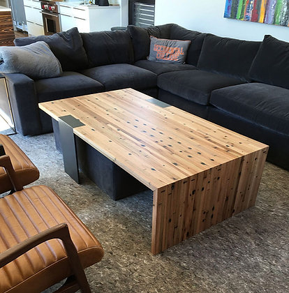 Reclaimed Trailer and Steel Coffee Table