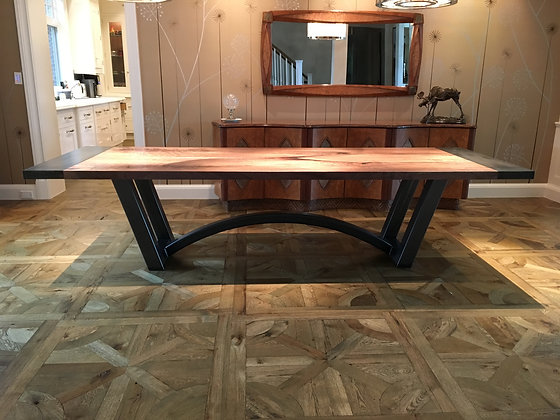 Bookmatched Walnut Dining Table with Steel Breadboards