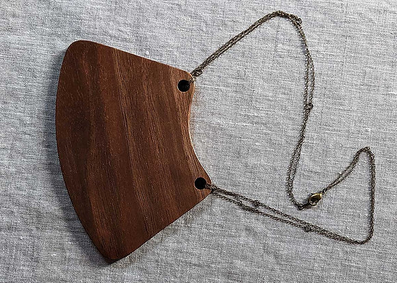 Black Walnut and Brass Breastplate Necklace