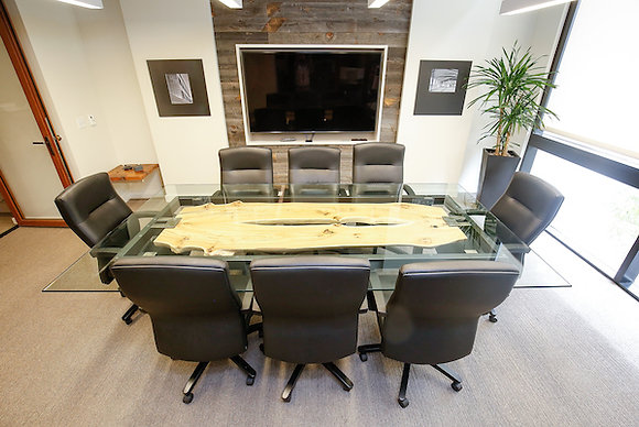 Floating Book Matched Elm Conference Table