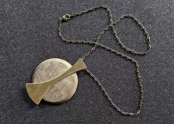 Brass and Walnut Moon Pendant