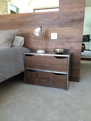 Brushed Stainless Steel and Walnut BedsideTables