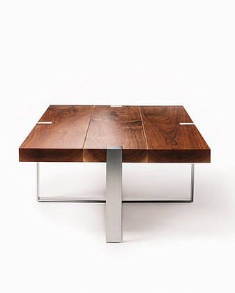Walnut and Brushed Steel Coffee Table