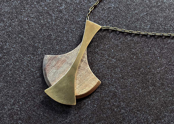 Brass and Walnut Teardrop Pendant