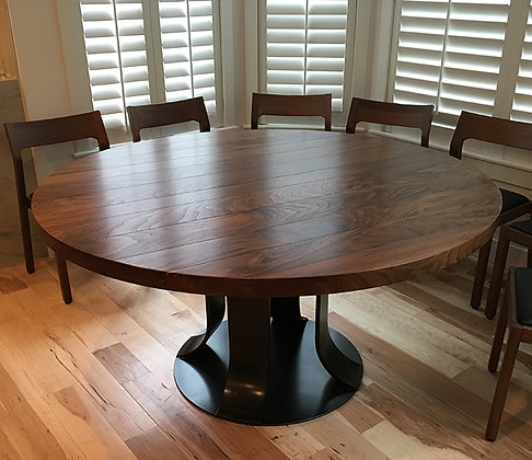 Round Walnut Table with Rolled Steel Base