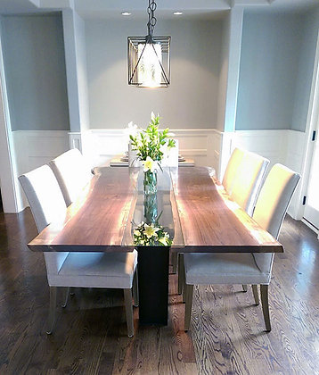 Black Walnut, Glass and I-Beam Dining Table