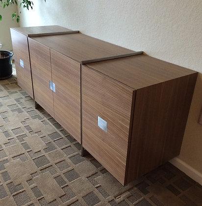 Brushed Steel & Walnut Filing Cabinet