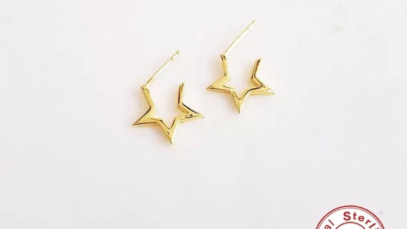 Small Star Hoops Gold