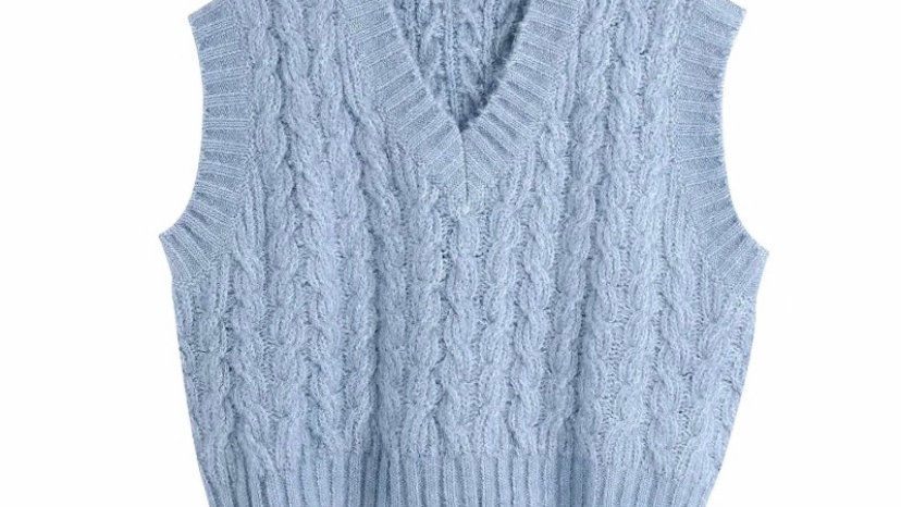 Blue Cable Knit Vest