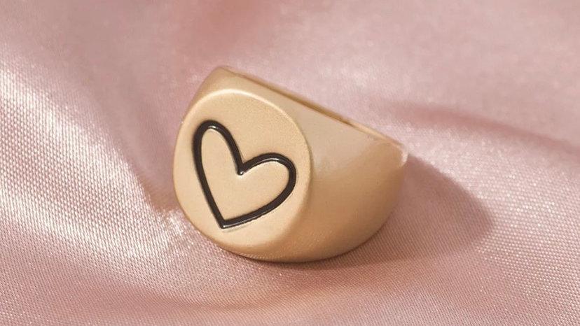 Matte Gold Heart Ring