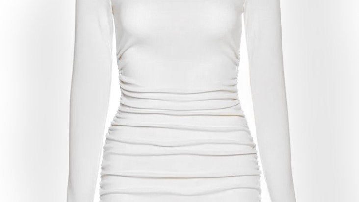 White Scrunched Up Dress