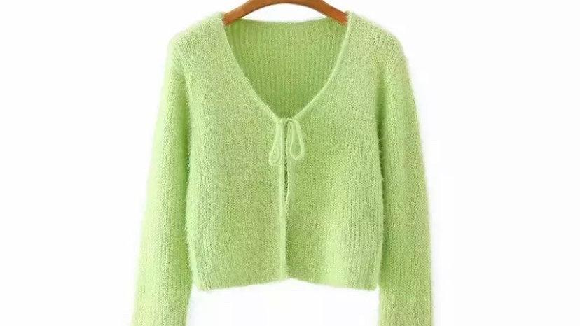 Green Matilda Fuzzy Cardigan