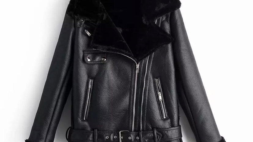 Black Chunky Biker Jacket