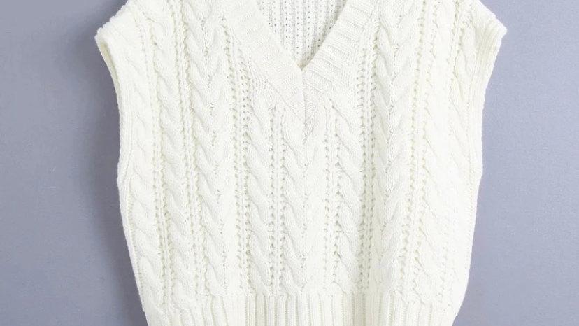 White Cable Knit Vest